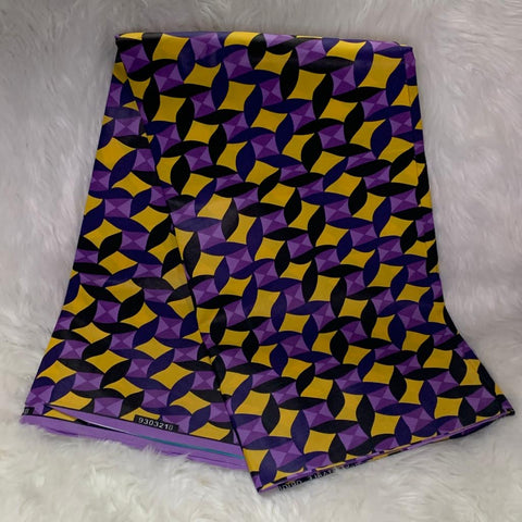 African Wax Print Fabric / Yellow- Purple /By The Yard