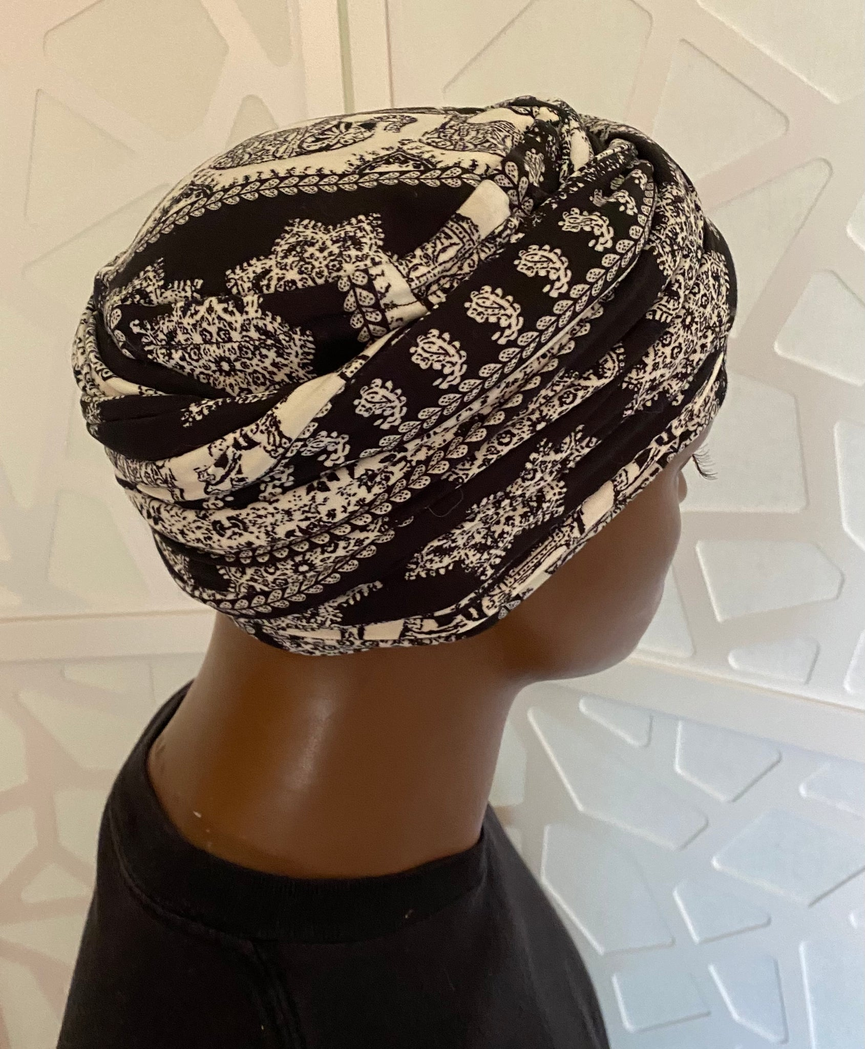 Black N White Elephant EZ PZ Turban Wrap