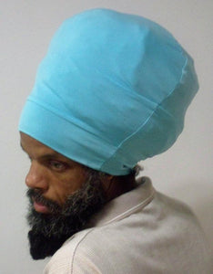 Light Blue stretch hat - side view.