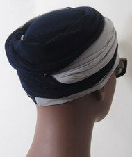 Women Navy & Light Gray EZ PZ Turban Wrap