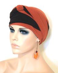 Women Rust and Brown EZ PZ Turban Wrap