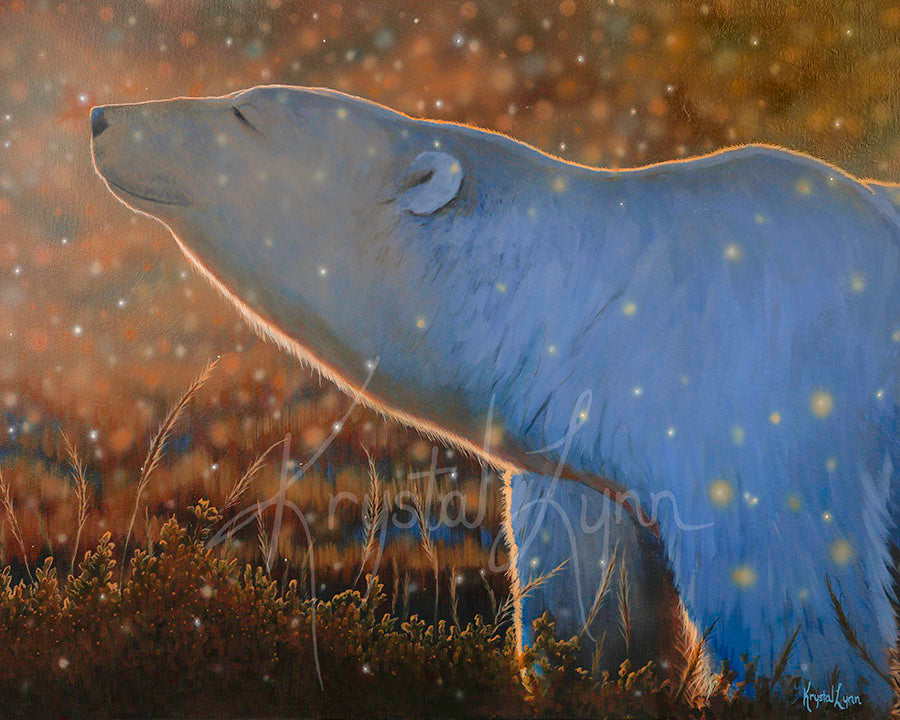 Blissful Autumn Polar Bear (Original)