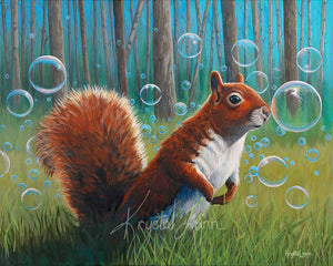 Sammy in a Field of Bubbles (Print or Card)