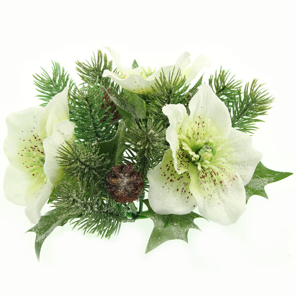 Christmas Candle Rings.Christmas Rose Candle Ring