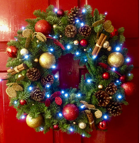 Fresh Fir Bauble wreath with bright white LED lights