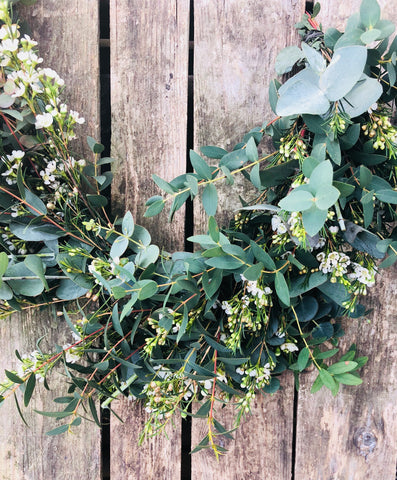 Fresh wax flower and eucalyptus garland