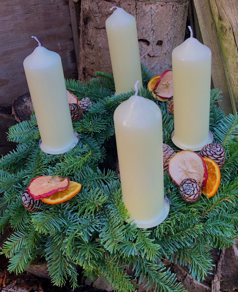 Advent wreath with long lasting pillar candles