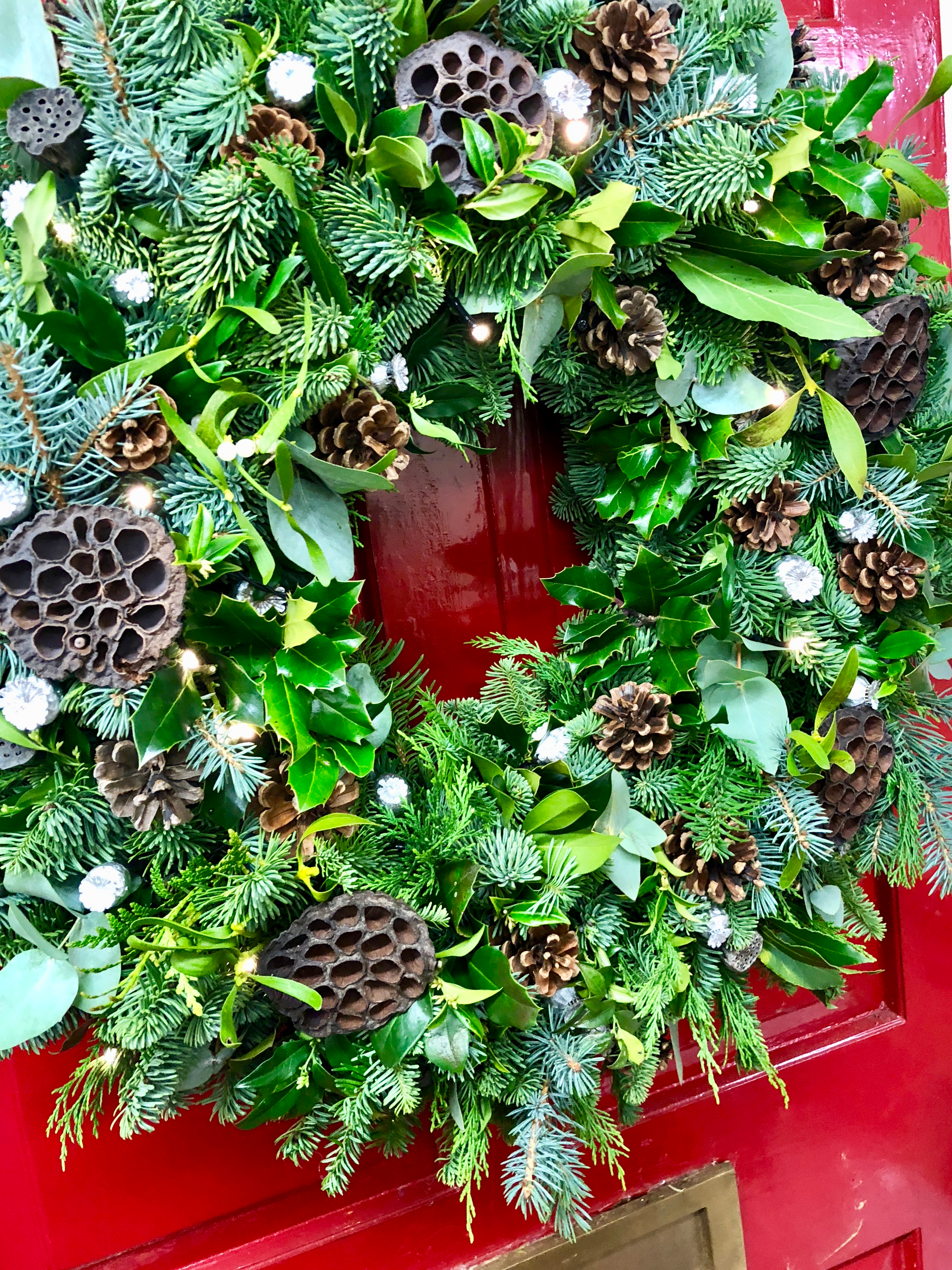 Fabulous foliage wreath with euc nuts and a classic bow