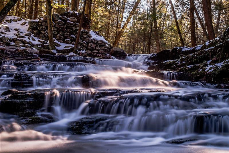Long exposure photograph of the river in Stoke State Park, New Jersey