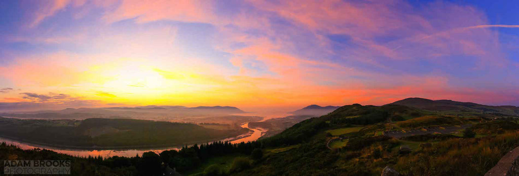 Beautiful panoramic sunrise from Flagstaff viewpoint near Newry