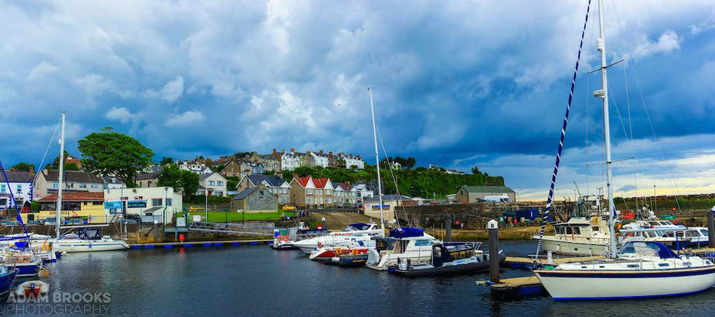 View overlooking the town of Ballycastle and harbour in Ireland