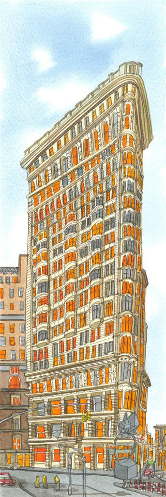 Framed watercolour of Flatiron Building in New York City