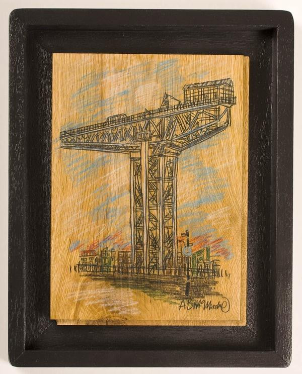 Original painting of the Finnieston crane in Glasgow on The Clyde