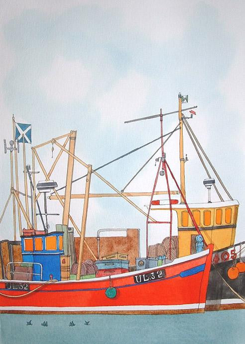 Original watercolour of a red Scottish fishing boat in harbour