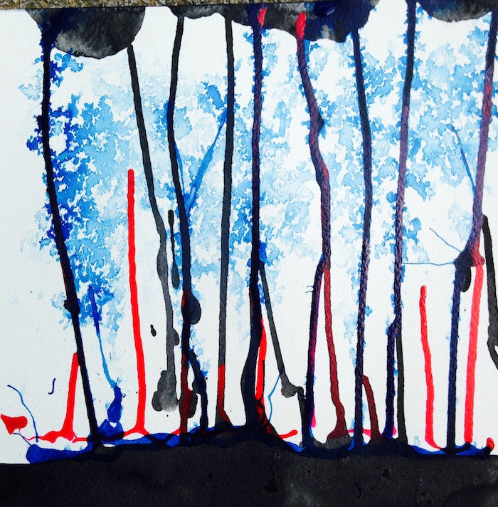 Black blue and red abstract painting in acrylic ink giving the illusion of trees