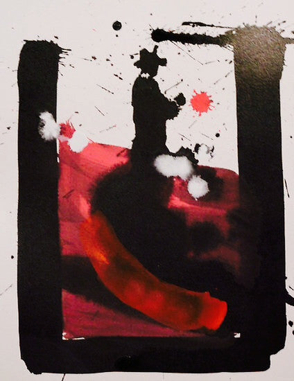Black and red abstract painting in acrylic ink showing your inner thoughts