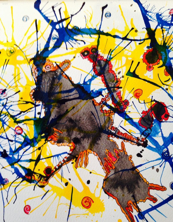 colourful abstract painting showing a web of deceit and lies in acrylic ink