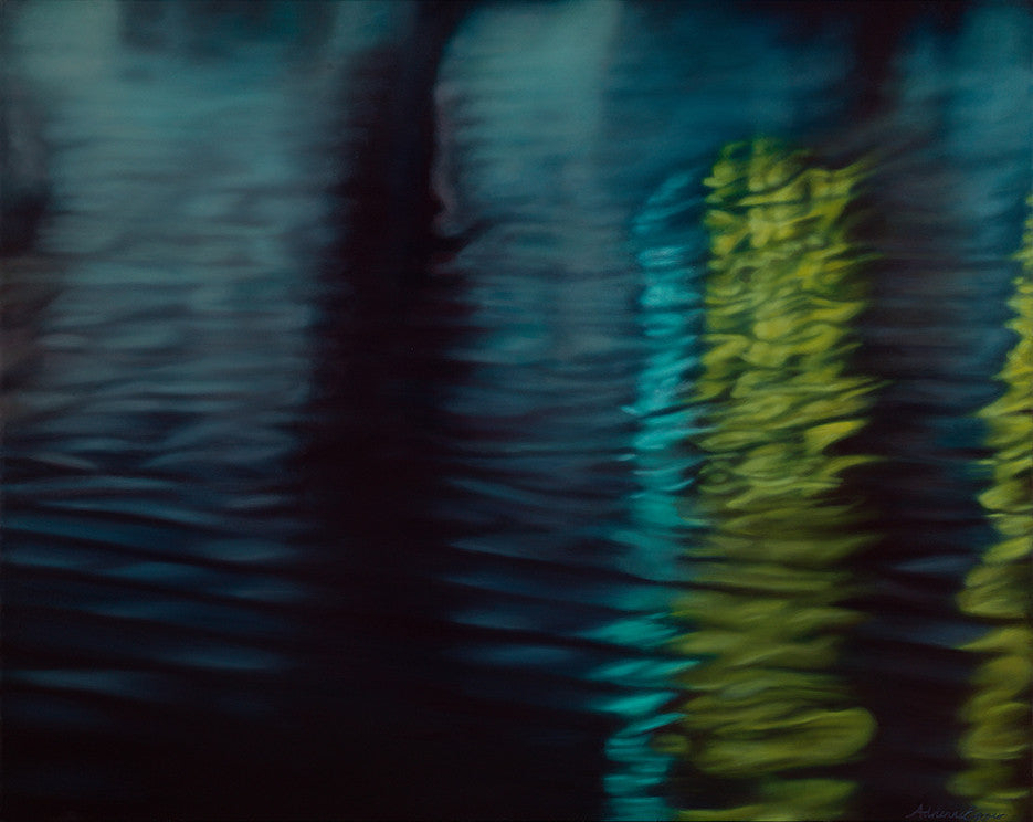 Exciting original oil painting showing ripples on water