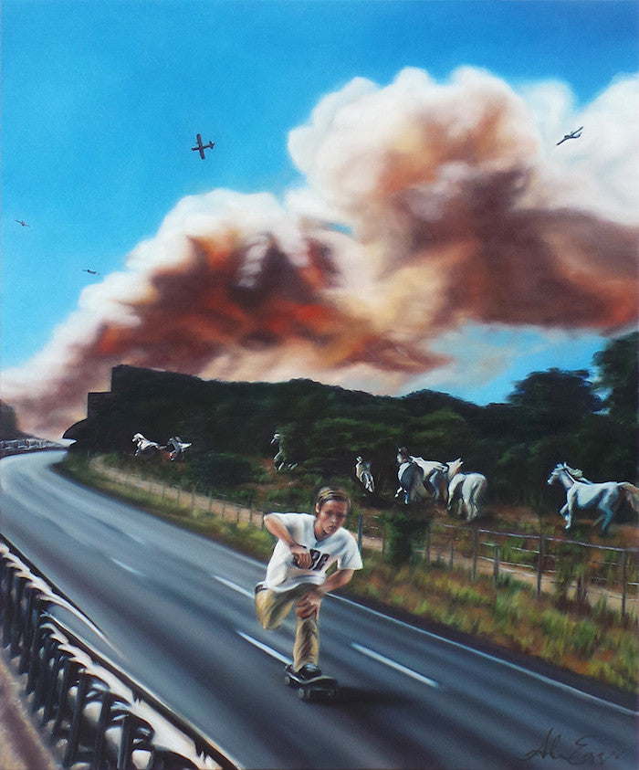 Oil painting of a young boy skating down a road with white horses