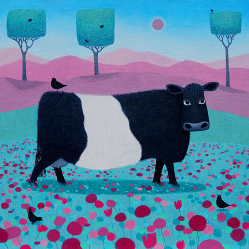 colourful painting of a cow in a field with square trees