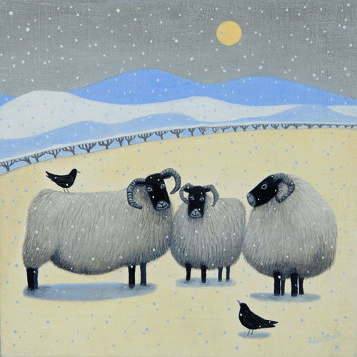 Beautiful painting of three sheep standing in a field during the winter