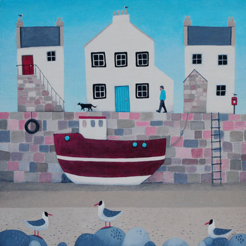Original painting of a small harbour in Scotland with the tide out