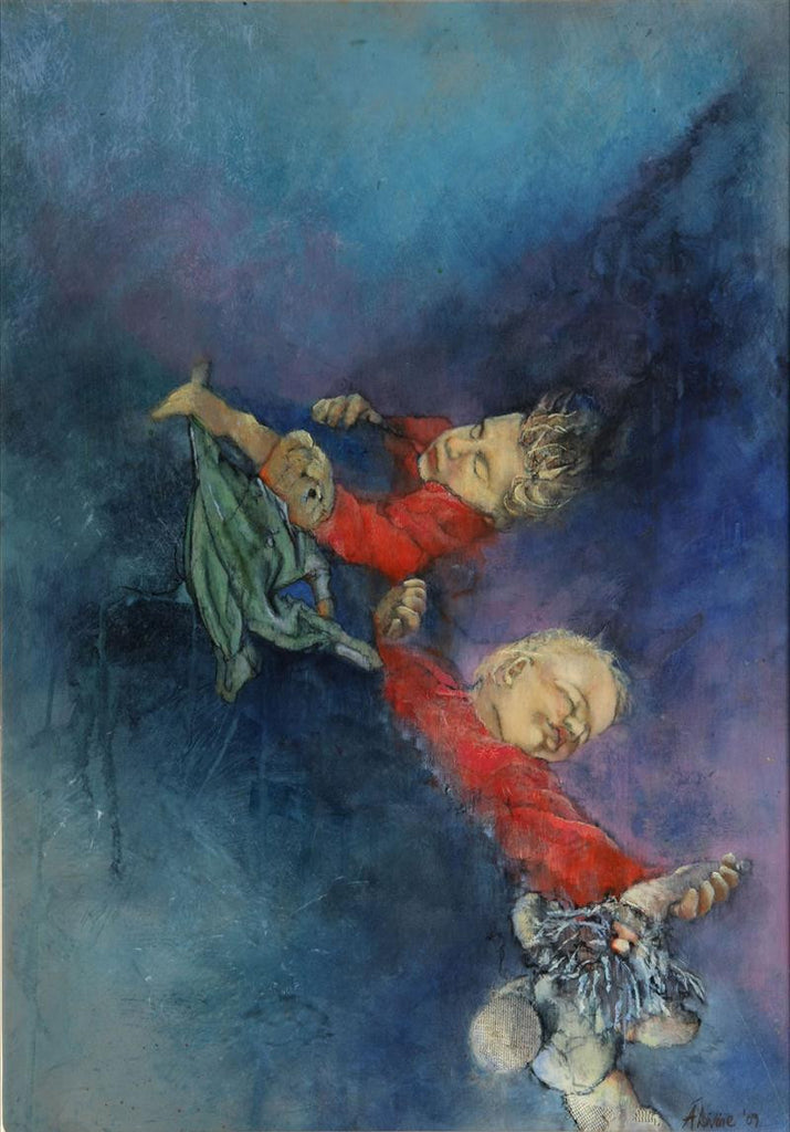 Original mixed media painting of two boys in a dream