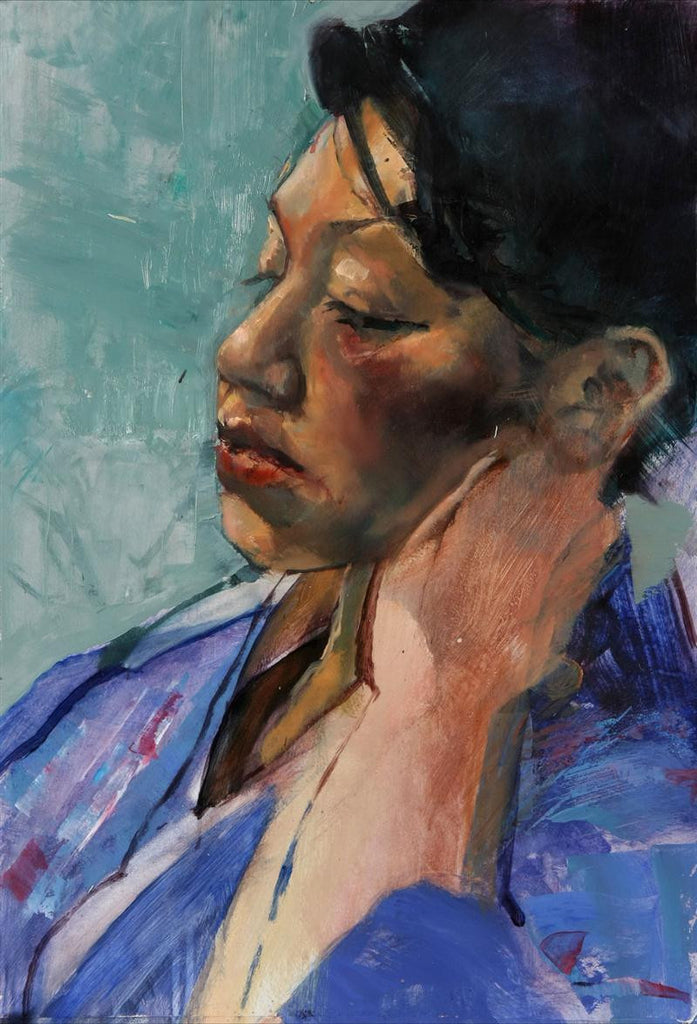Original oil painting of a portrait of a woman in blue