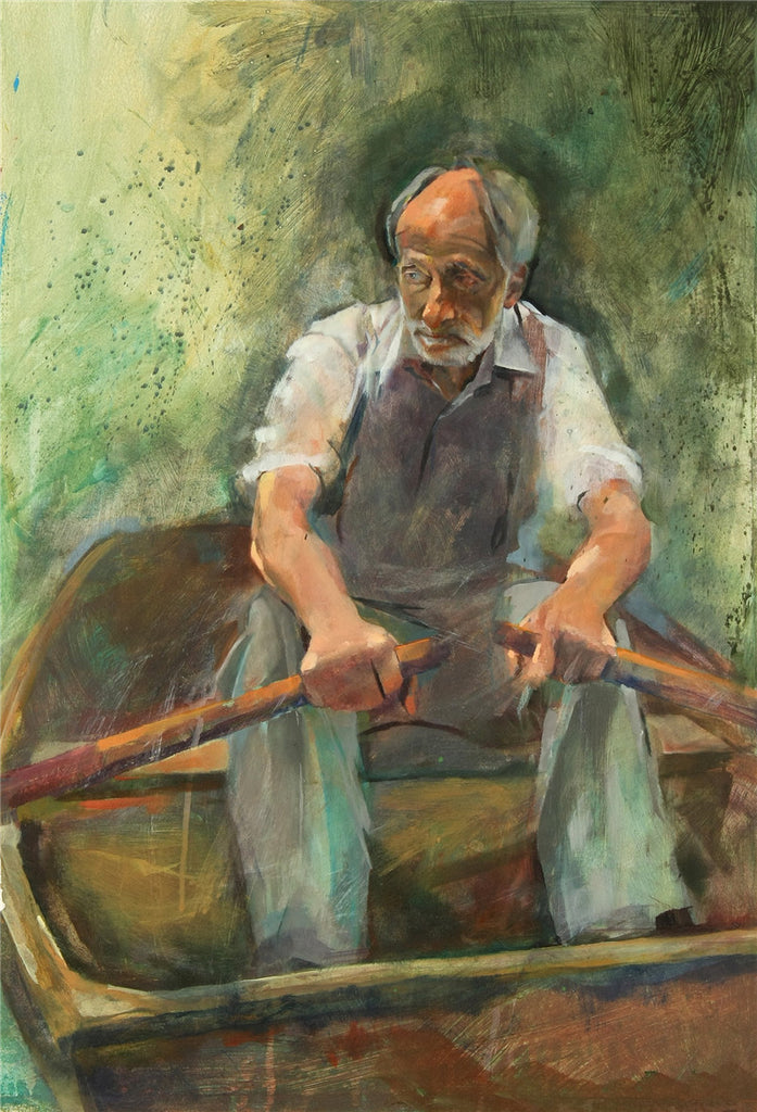 Original acrylic painting of an old man rowing a boat
