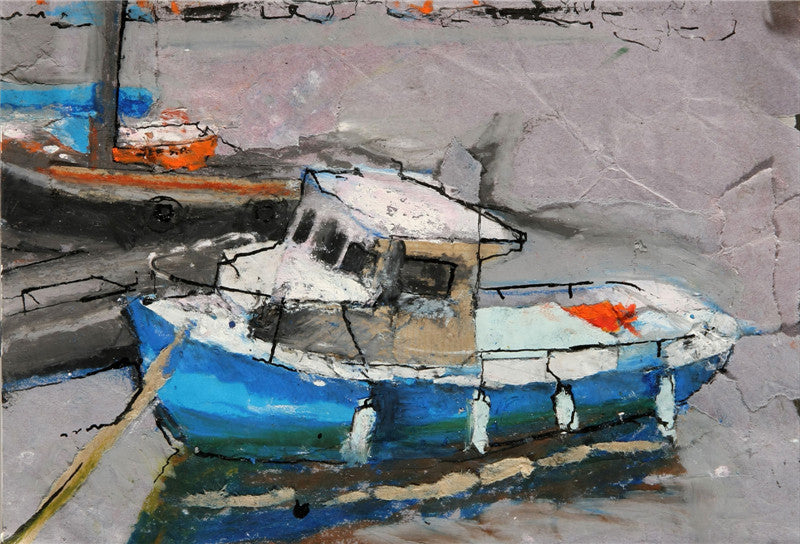 Original mixed media painting of a small fishing boat in a harbour