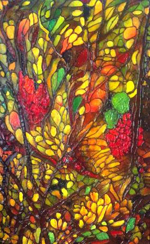 Colourful original painting of an abstract flower