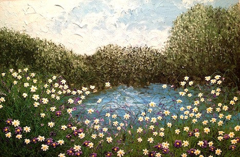 Beautiful original painting of forget me nots over a pond
