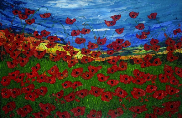 Stunning original painting of of red poppies in a field in summer