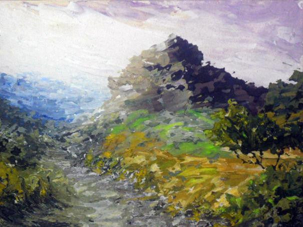 Beautiful original landscape painting of a view of Eagle Crag in the Lake District