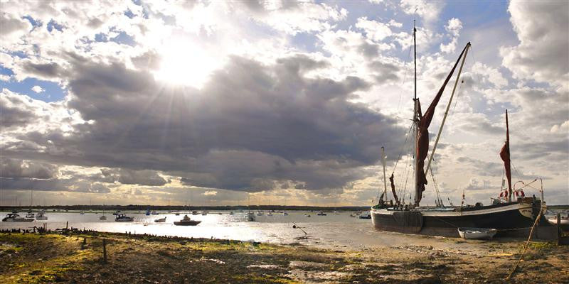 An image of the Essex Sailing Barge Dawn moored on Mersea Island