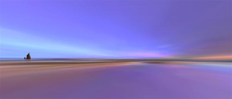 Stunning abstract photograph of a beach in brilliant purple