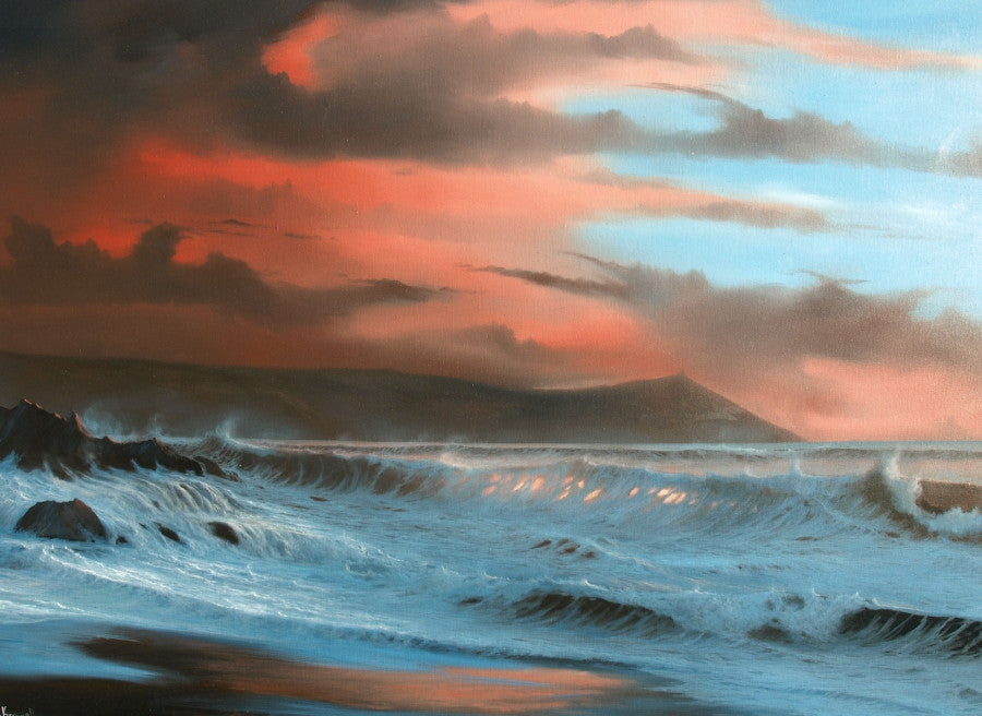 Storm original oil painting looking out to sea on a rough stormy day
