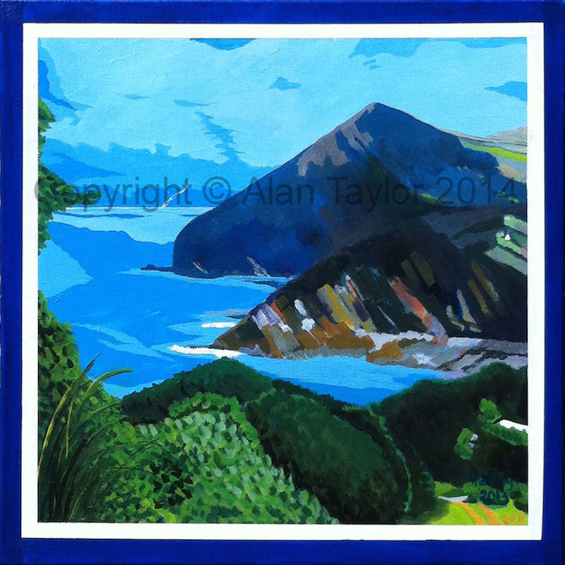 Colourful original landscape painting of Combe Martin