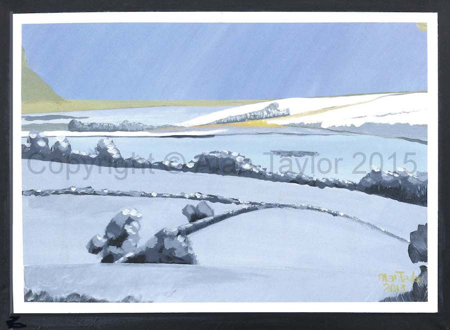 Original acrylic painting of a winter scene looking over the landscape of Exmoor