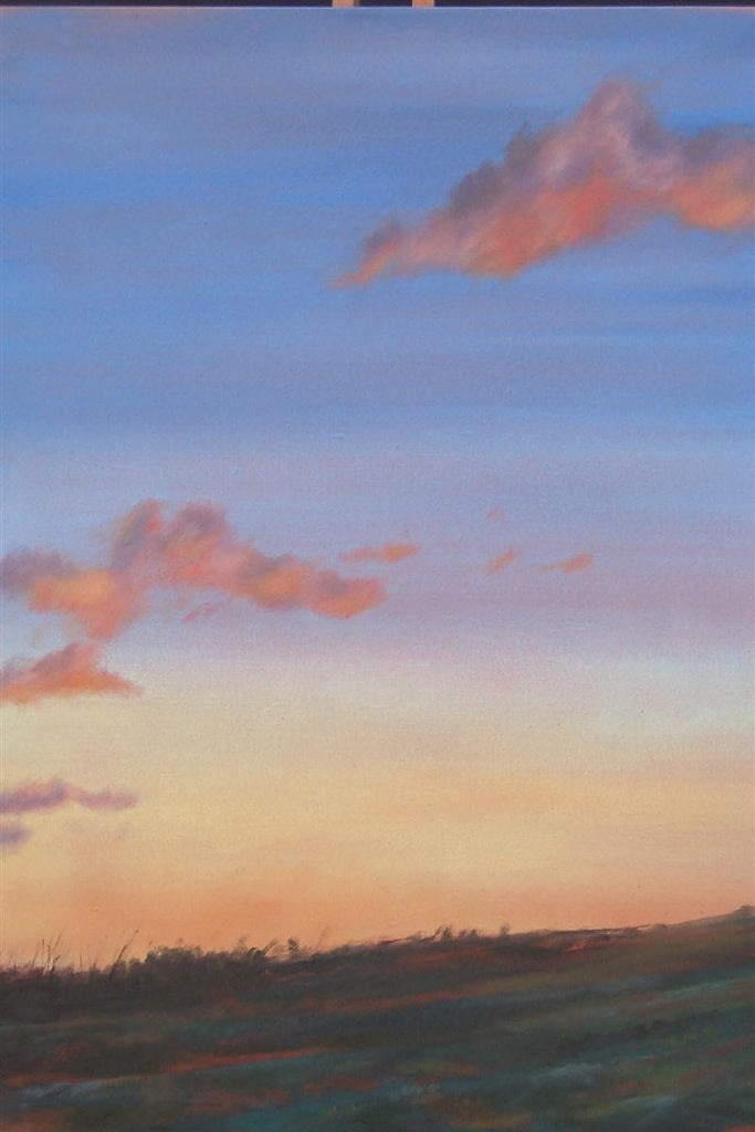 Colourful original landscape painting at dusk of Morvah just west of cornwall