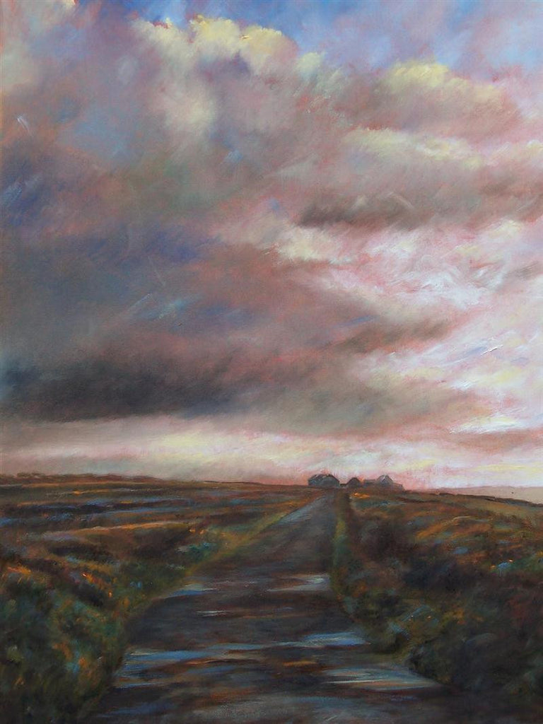 Original landscape painting of road to Dakota Farm west of Cornwall