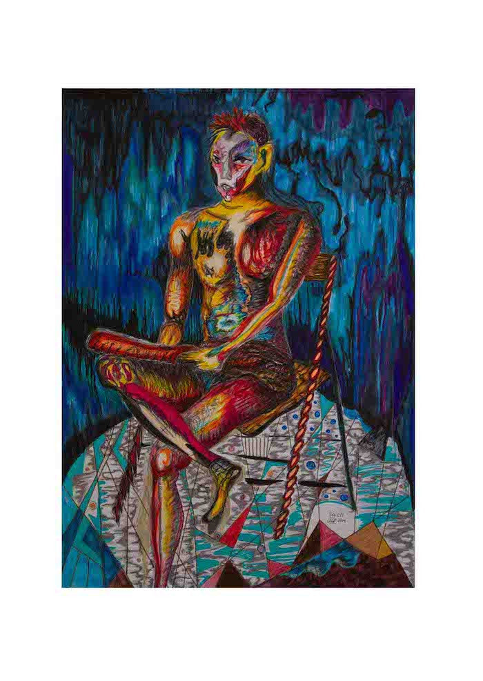 Colourful expressionist Portrait of a shy young artist sitting down on a chair