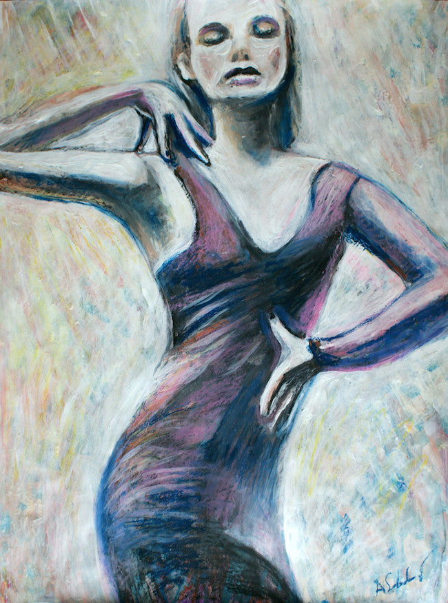 Original expressionist Portrait of a woman dancing in a purple dress