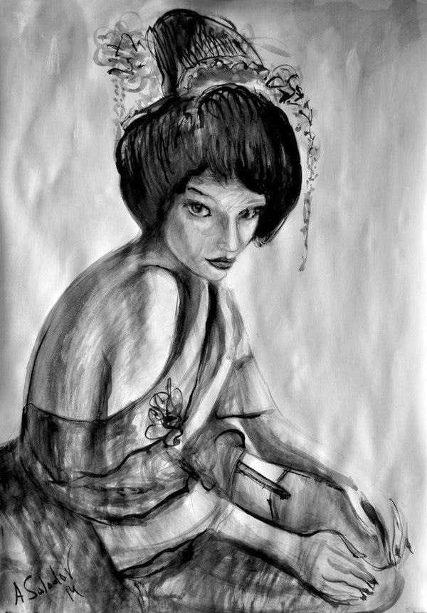 Ink painting of a Japanese Geisha girl