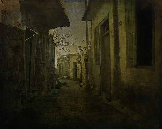 Original art images of an abandoned alley