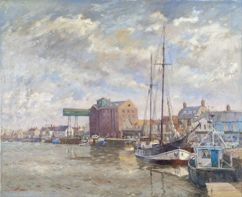Beautiful watercolour of boats in the harbour at Wells next to the sea