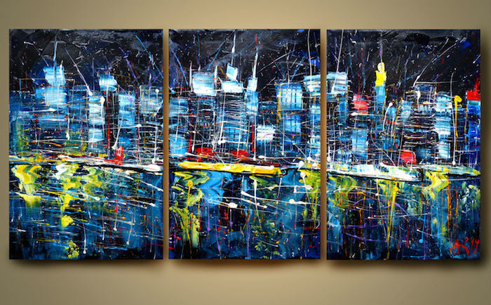 Expressionism painting of a city at night with its bright lights