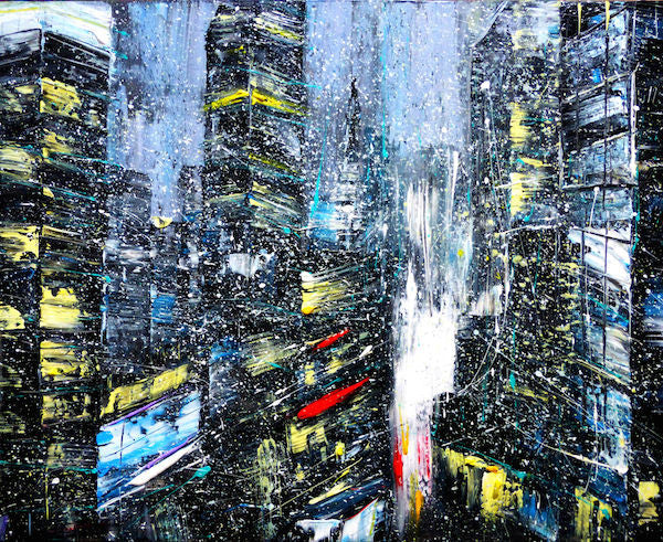 Expressionism painting of a city at night in the rain