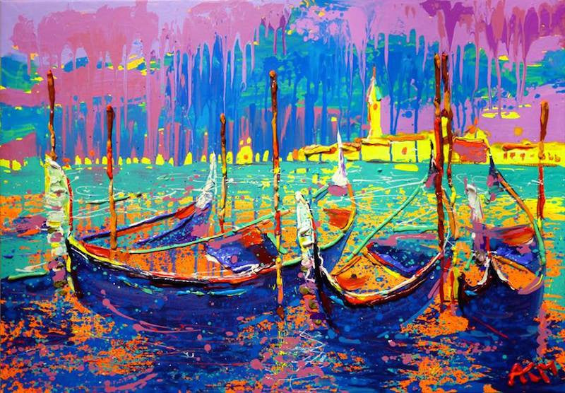 Wonderful original expressionism painting of gondolas in Venice grand canal
