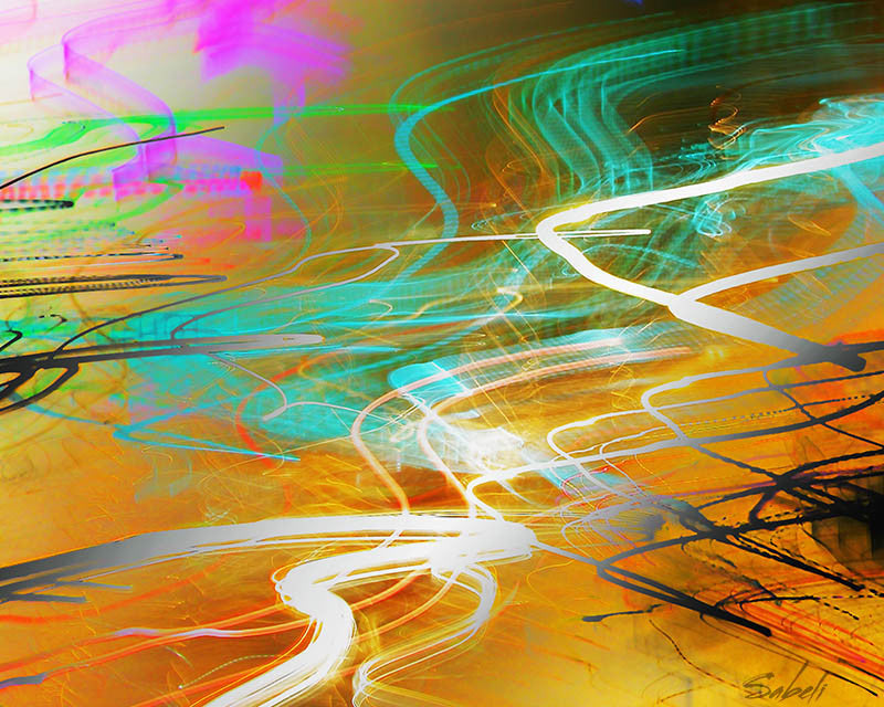 Very colourful abstract digital print